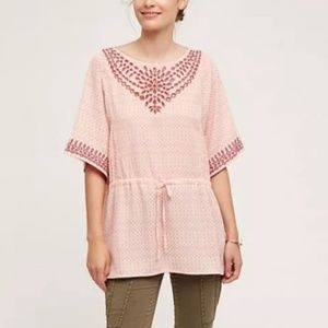 Anthropologie • Peach Eyelet Tunic Top